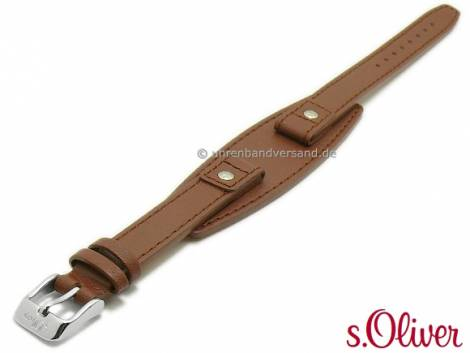 Original Ersatz-Uhrenarmband s.Oliver 12mm rotbraun Leder mit Lederunterlage für SO-1307-LQ** etc. - Bild vergrößern