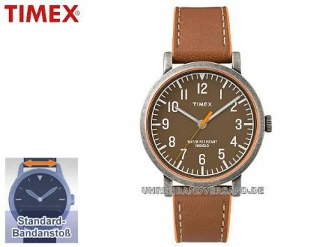 Klassische Herrenuhr Metall grau Ziffernblatt braun von Timex (*TM*HU*) - Bild vergrößern