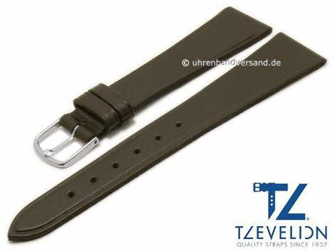 Uhrenarmband 20mm dunkelbraun Leder glatt matt von TZEVELION (Schließenanstoß 14 mm) - Bild vergrößern