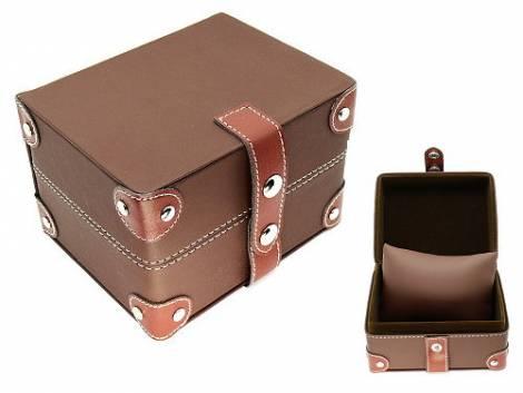 Uhrenbox braun weiß abgenäht mit Nieten für 1 Armbanduhr - Bild vergrößern