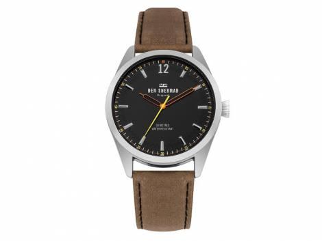Armbanduhr silberfarben Ziffernblatt schwarz Lederband in hellbraun von Ben Sherman (*BE*HU*) - Bild vergrößern