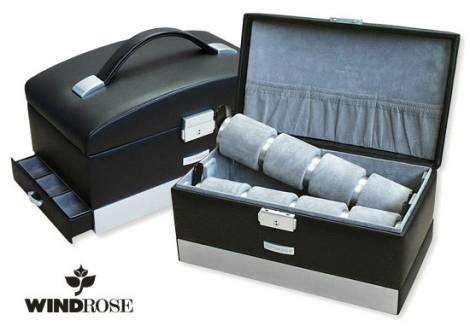 uhrenkoffer titan 8 uhren schwarz leder windrose. Black Bedroom Furniture Sets. Home Design Ideas