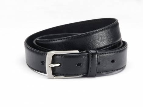 Klassischer Anzuggürtel Leder schwarz fein genarbt abgenäht - Größe 95 (Breite ca. 3 cm) - Bild vergrößern