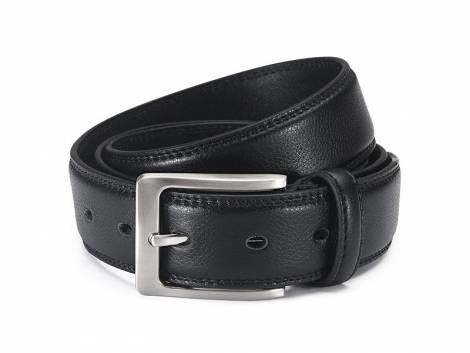 Anzug-Ledergürtel schwarz fein genarbt abgenäht - Bundlänge 115cm - Bild vergrößern