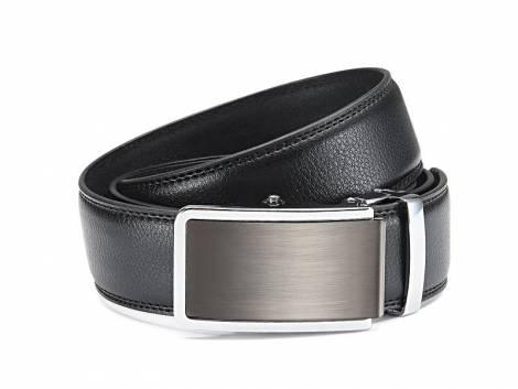Ledergürtel schwarz fein genarbt abgenäht mit Automatikschließe anthrazit/silberfarben - Bundlänge 115cm(Breite ca. 4cm) - Bild vergrößern