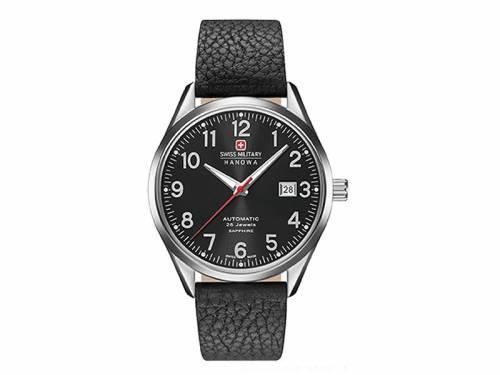 Automatik-Armbanduhr silberfarben Ziffernblatt schwarz von SWISS MILITARY HANOWA (*SM*HU*) - Bild vergrößern
