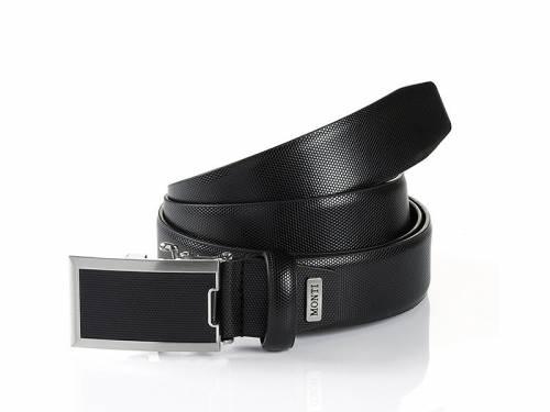 Business-Gürtel -Osaka- schwarz mit Automatikschließe silberfarben/schwarz von Monti - Größe 90 (Breite ca. 3,5 cm) - Bild vergrößern