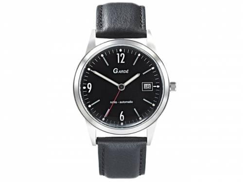 Automatik-Armbanduhr Edelstahl matt Ziffernblatt schwarz Lederband von Gardé (*GD*AU*) - Bild vergrößern