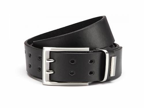 Basic-Gürtel schwarz fein genarbt Doppeldorn-Schließe - Größe 125 (Breite ca. 4 cm) - Bild vergrößern
