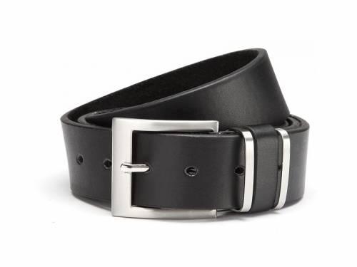 Basic-Gürtel schwarz fein genarbt Metallschlaufen - Größe 115 (Breite ca. 4 cm) - Bild vergrößern