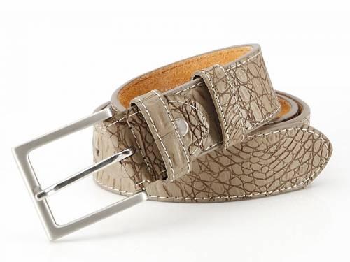Basic-Gürtel taupe Reptilprägung abgenäht - Größe 125 (Breite ca. 4 cm) - Bild vergrößern