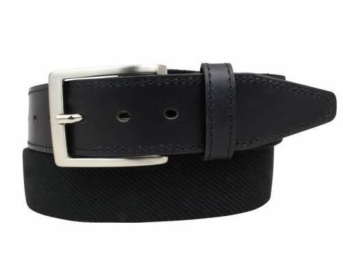 Stretch-Stoffgürtel mit Leder schwarz - Größe 85 (Breite 3,5 cm) - Bild vergrößern