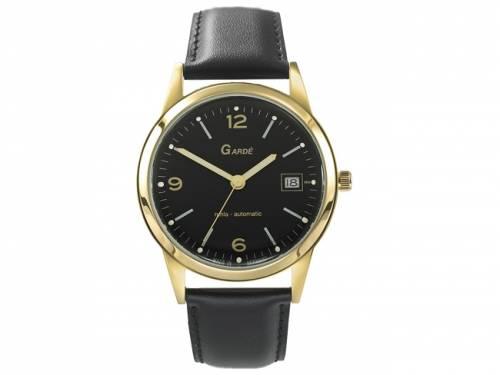 Automatik-Armbanduhr Edelstahl goldfarben Ziffernblatt schwarz Lederband von Gardé (*GD*AU*) - Bild vergrößern
