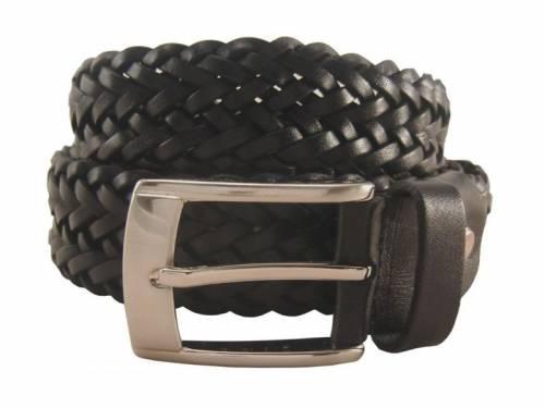 Flechtgürtel Leder schwarz - Größe 90 (Breite ca. 3,5 cm) - Bild vergrößern