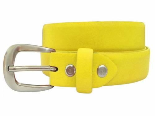 Damengürtel Leder gelb bombiert - Größe 80 (Breite 2,5 cm) - Bild vergrößern