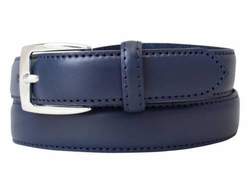 Gürtel extrakurz bzw. Kindergürtel Vollrindleder dunkelblau abgenäht - Größe 65 (Breite 2,5 cm) - Bild vergrößern