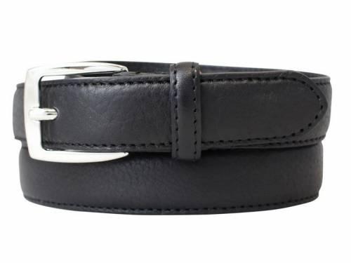 Gürtel extrakurz bzw. Kindergürtel Vollrindleder schwarz abgenäht - Größe 55 (Breite 2,5 cm) - Bild vergrößern
