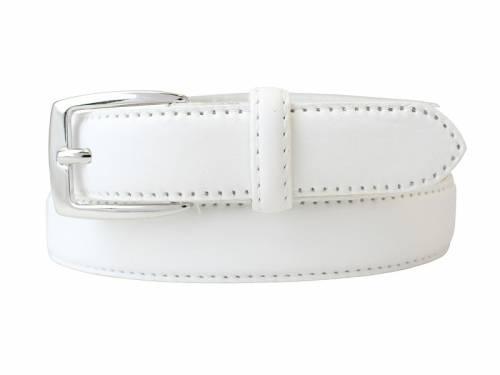 Damengürtel Vollrindleder weiß bombiert - Größe 105 (Breite 2,5 cm) - Bild vergrößern