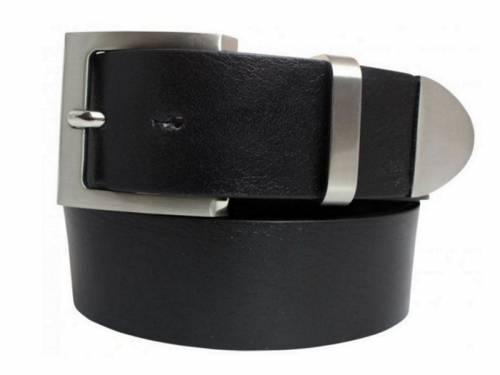 Gürtel Vollrindleder schwarz mit Schlaufe und Spitze aus Metall - Größe 105 (Breite 4 cm) - Bild vergrößern