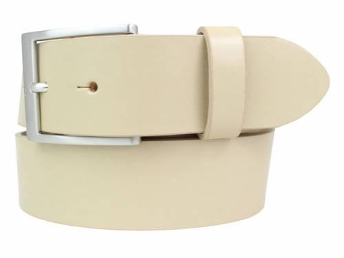 Gürtel Vollrindleder beige fein genarbt - Größe 95 (Breite 4 cm) - Bild vergrößern
