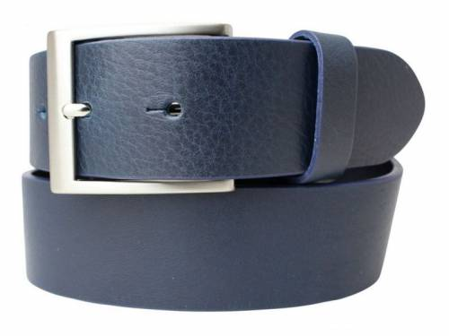 Gürtel Vollrindleder dunkelblau fein genarbt - Größe 115 (Breite 4 cm) - Bild vergrößern