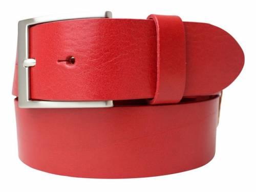 Gürtel Vollrindleder rot fein genarbt - Größe 85 (Breite 4 cm) - Bild vergrößern