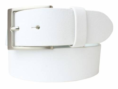 Gürtel Vollrindleder weiß fein genarbt - Größe 115 (Breite 4 cm) - Bild vergrößern