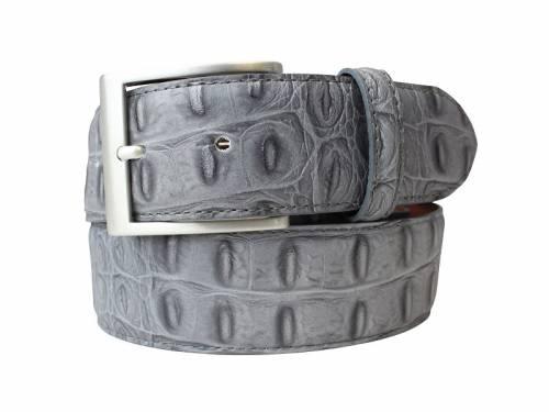 Hochwertiger Ledergürtel dunkelgrau Krokoprägung - Größe 100 (Breite ca. 4 cm) - Bild vergrößern