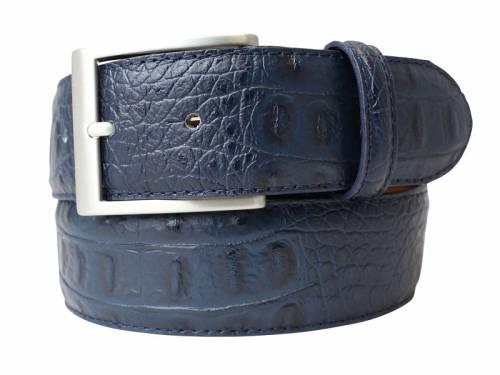 Hochwertiger Ledergürtel dunkelblau Krokoprägung - Größe 90 (Breite ca. 4 cm) - Bild vergrößern