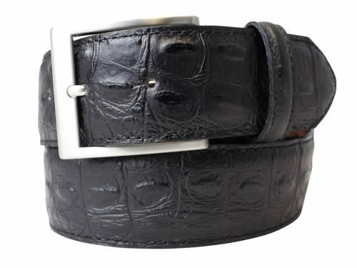 Hochwertiger Ledergürtel schwarz Krokoprägung - Größe 110 (Breite ca. 4 cm) - Bild vergrößern