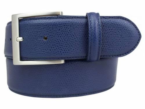 Modischer Ledergürtel dunkelblau fein genarbt - Größe 105 (Breite ca. 4 cm) - Bild vergrößern