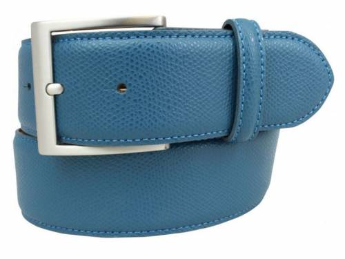 Modischer Ledergürtel hellblau fein genarbt - Größe 95 (Breite ca. 4 cm) - Bild vergrößern