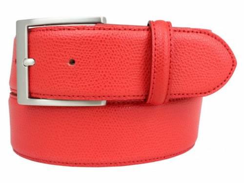 Modischer Ledergürtel rot fein genarbt - Größe 115 (Breite ca. 4 cm) - Bild vergrößern