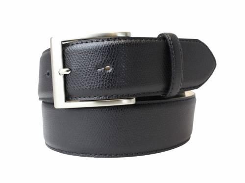 Modischer Ledergürtel schwarz fein genarbt - Größe 85 (Breite ca. 4 cm) - Bild vergrößern