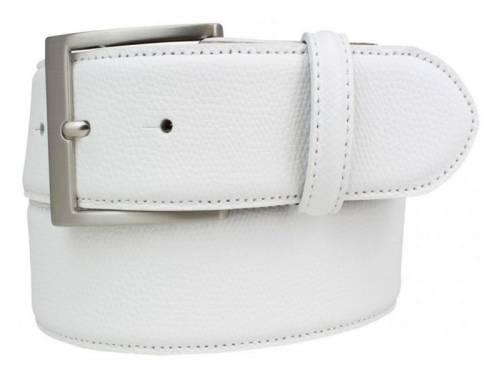 Modischer Ledergürtel weiß fein genarbt - Größe 95 (Breite ca. 4 cm) - Bild vergrößern