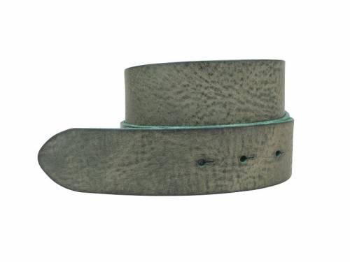 Sportiver Ledergürtel OHNE Schließe Schraub-System grün Used-Vintage-Look - Größe 90 (Breite ca. 4 cm) - Bild vergrößern
