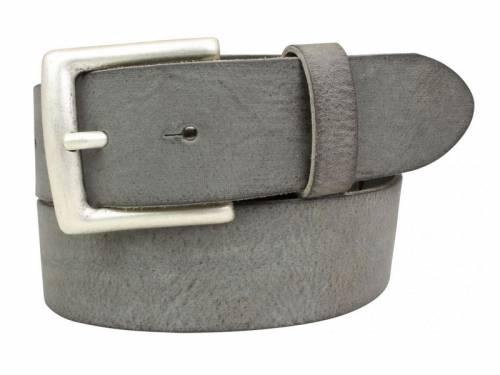 Sportiver Ledergürtel dunkelgrau Used-Vintage-Look - Größe 115 (Breite ca. 4 cm) - Bild vergrößern