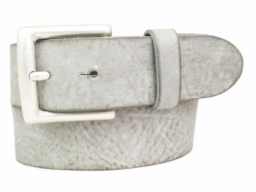 Sportiver Ledergürtel hellgrau Used-Vintage-Look - Größe 115 (Breite ca. 4 cm) - Bild vergrößern