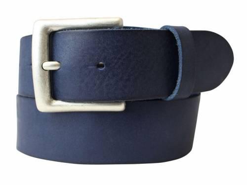 Sportiver Ledergürtel dunkelblau Used-Vintage-Look - Größe 115 (Breite ca. 4 cm) - Bild vergrößern