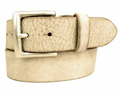Sportiver Ledergürtel beige Used-Vintage-Look - Größe 95 (Breite ca. 4 cm) - Bild vergrößern