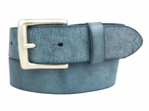 Sportiver Ledergürtel nachtblau Used-Vintage-Look - Größe 95 (Breite ca. 4 cm) - Bild vergrößern