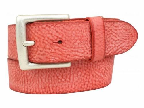 Sportiver Ledergürtel rot Used-Vintage-Look - Größe 85 (Breite ca. 4 cm) - Bild vergrößern