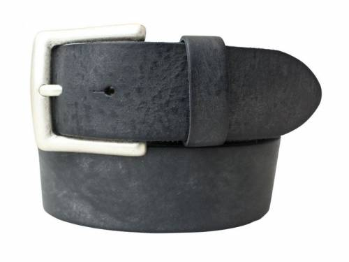 Sportiver Ledergürtel schwarz Used-Vintage-Look - Größe 85 (Breite ca. 4 cm) - Bild vergrößern