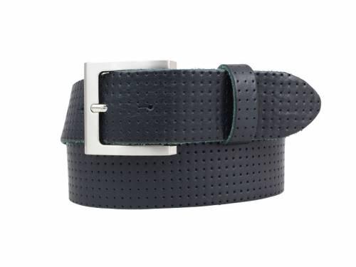 Sportiver Ledergürtel dunkelblau glatt perforiert - Größe 120 (Breite ca. 4 cm) - Bild vergrößern