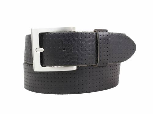 Sportiver Ledergürtel schwarz glatt perforiert - Größe 110 (Breite ca. 4 cm) - Bild vergrößern