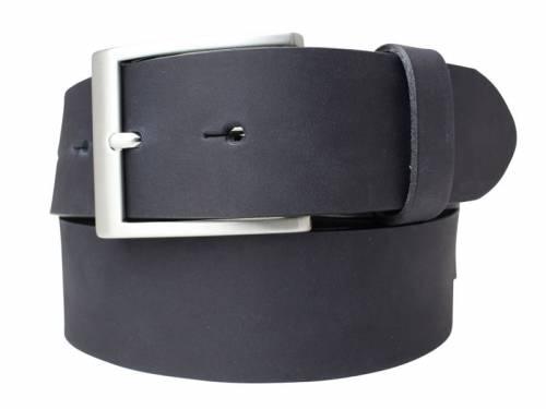 Gürtel Vollrindleder schwarz glatt matt Vintage-Look - Größe 90 (Breite 4 cm) - Bild vergrößern