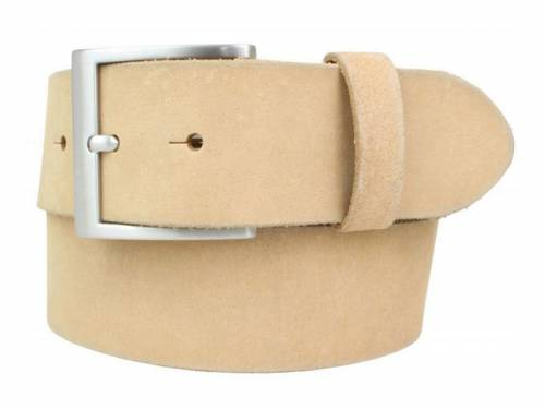 Gürtel aus weichem Vollrindleder beige - Größe 120 (Breite ca. 4 cm) - Bild vergrößern