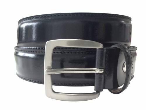 Anzuggürtel schwarz glänzend - Größe 85 (Breite 3,5 cm) - Bild vergrößern