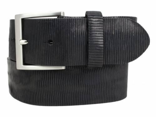 Gürtel mit Metall-Optik schwarz - Größe 105 (Breite ca. 4 cm) - Bild vergrößern