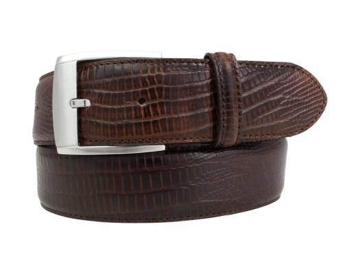 Hochwertiger Ledergürtel dunkelbraun Reptilprägung - Größe 95 (Breite ca. 4 cm) - Bild vergrößern